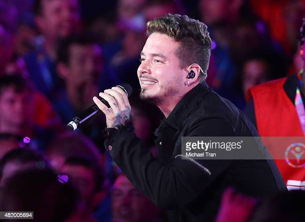 Balvin performs onstage during the opening ceremony of The Special Olympics World Games Los Angeles 2015 held at Los Angeles Memorial Coliseum on...