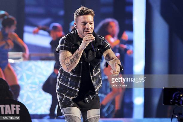 Balvin performs onstage during Univision's Premios Juventud 2015 rehearsal at Bank United Center on July 15 2015 in Miami Florida
