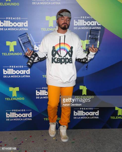 Balvin poses backstage during the Billboard Latin Music Awards at Watsco Center on April 27 2017 in Coral Gables Florida