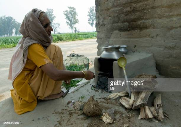 Balwanti a villager cooking food in Bazida Zattan Village photographed on February 24 2010 in Karnal India