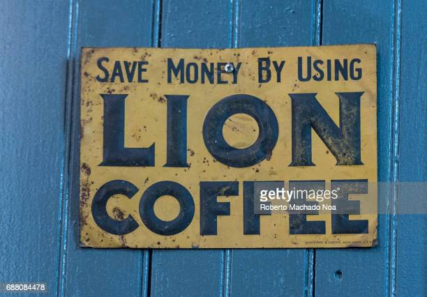 Balzac's Coffee Roasters interior details Old Lion Coffee sign decorating the shop interior The coffee shop is located in the Distillery District...