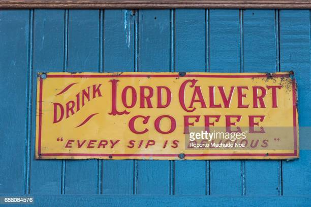 Balzac's Coffee Roasters interior details Old Lord Calvert Coffee sign decorating the shop interior The coffee shop is located in the Distillery...
