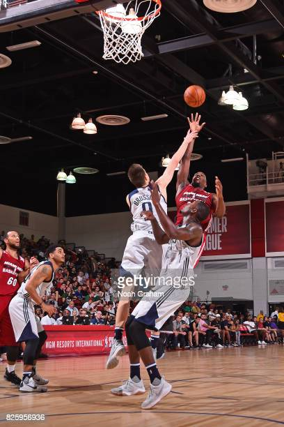 Bam Adebayo of the Miami Heat drives to the basket and shoots the ball during the 2017 Las Vegas Summer League game against the Dallas Mavericks on...