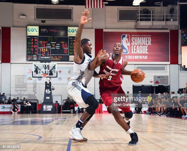 Bam Adebayo of the Miami Heat handles the ball against the Dallas Mavericks during the 2017 Summer League on July 11 2017 at Cox Pavillion in Las...