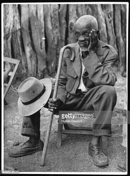 A Bamangwato man attends a meeting in the village of Serowe during the controversy over Chief Seretse Khama's marriage to a British woman