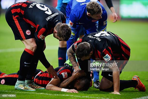 Bamba Anderson of Eintracht Frankfurt lies on the pitch during the Bundesliga match between Eintracht Frankfurt and Borussia Dortmund at...