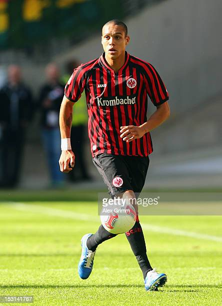 Bamba Anderson of Frankfurt controles the ball during the Bundesliga match between Eintracht Frankfurt and SC Freiburg at CommerzbankArena on...