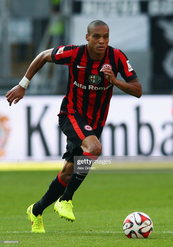 Bamba Anderson of Frankfurt controles the ball during the Bundesliga match between Eintracht Frankfurt and FC Augsburg at Commerzbank-Arena on September 14, 2014 in Frankfurt am Main, Germany.