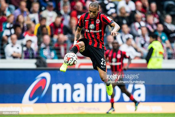 Bamba Anderson of Frankfurt controls the ball during the Bundesliga match between Eintracht Frankfurt and SC Freiburg at CommerzbankArena on August...