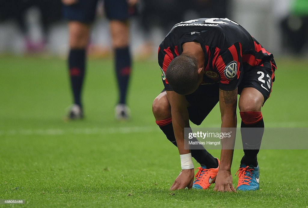 Bamba Anderson of Frankfurt reacts after the DFB cup second round match between Eintracht Frankfurt and Borussia Moenchengladbach at Commerzbank-Arena on October 29, 2014 in Frankfurt am Main, Germany.