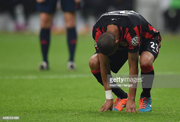 Bamba Anderson of Frankfurt reacts after the DFB cup second round match between Eintracht Frankfurt and Borussia Moenchengladbach at CommerzbankArena...