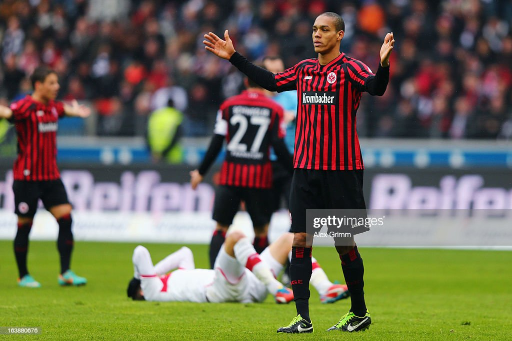 Bamba Anderson of Frankfurt reacts during the Bundesliga match between Eintracht Frankfurt and VfB Stuttgart at Commerzbank-Arena on March 17, 2013 in Frankfurt am Main, Germany.