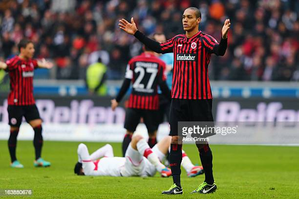 Bamba Anderson of Frankfurt reacts during the Bundesliga match between Eintracht Frankfurt and VfB Stuttgart at CommerzbankArena on March 17 2013 in...