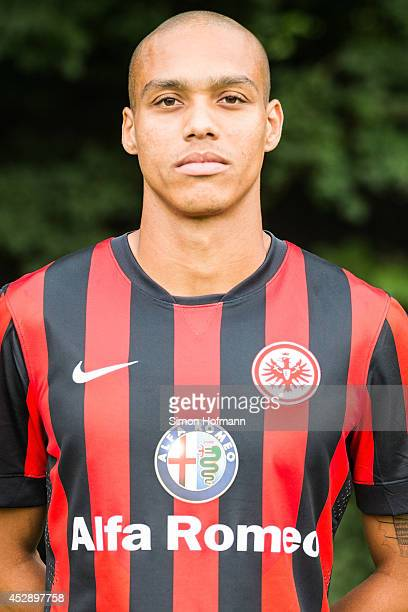 Bamba Anderson poses during the Eintracht Frankfurt Team Presentation at CommerzbankArena on July 29 2014 in Frankfurt am Main Germany