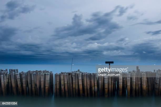 Bamboo breakwater on the sea coast with hard storm background