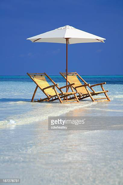Bambù sedie e ombrellone in Florida, Stati Uniti