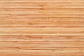 Bamboo cutting board or wooden texture with copy space. High angle view of a wood background.