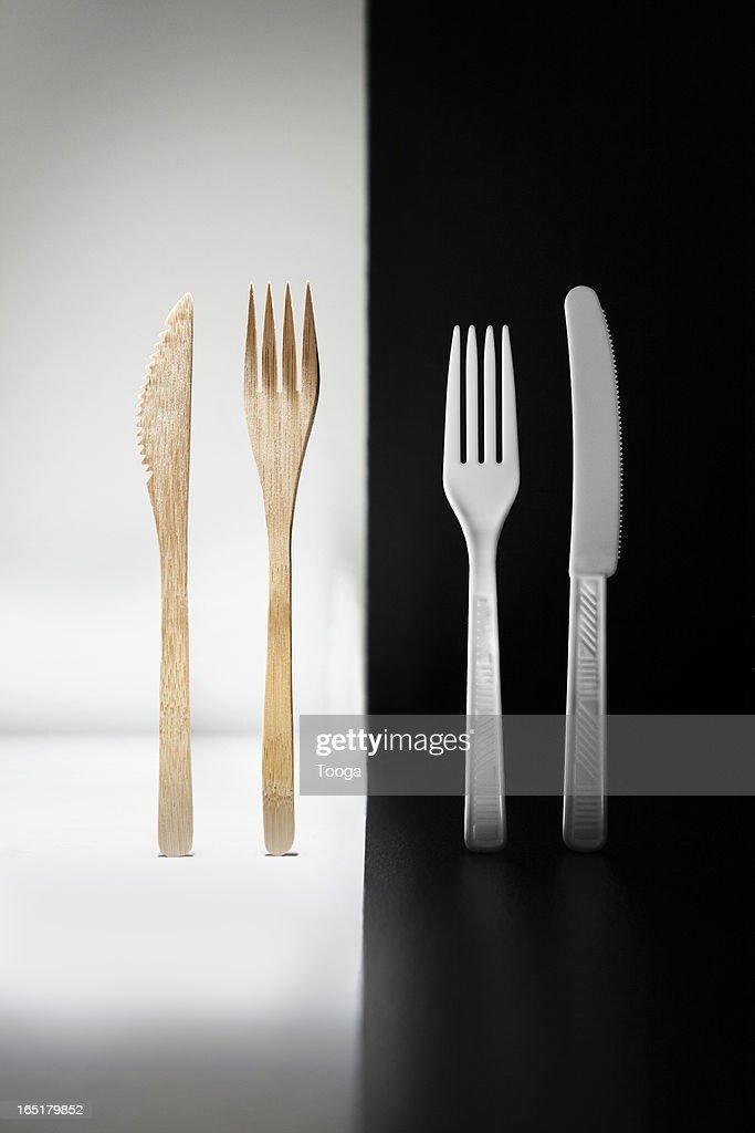 Bamboo fork and knife vs. plastic