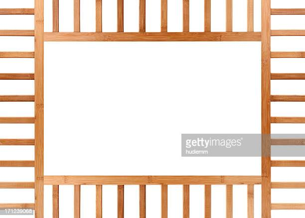 Bamboo frame with Chinese style background isolated