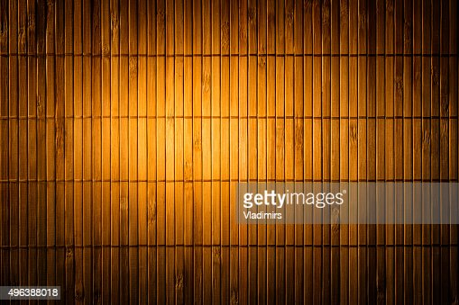 Stroh Bambus Matten Hintergrund Holz Textur Gelbe Wand Material Fur