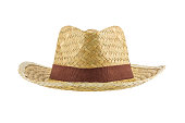 front view of bamboo panama hat isolated on white background