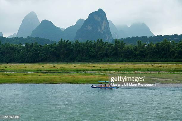 A bamboo raft along the Li river in Yangshuo.