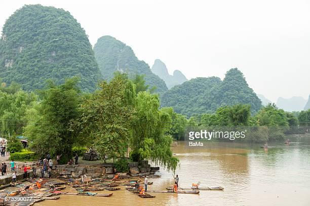 Bamboo rafts on Li River, China