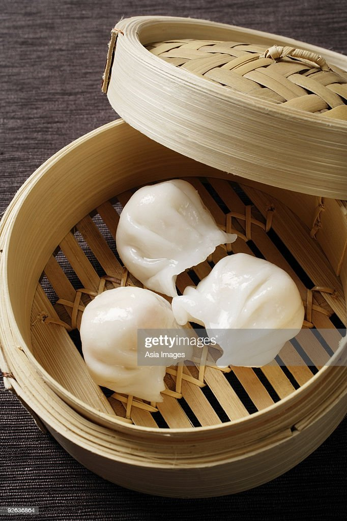 bamboo steamer with dimsum : Stock Photo