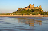 Bamburgh Castle, waves and reflection