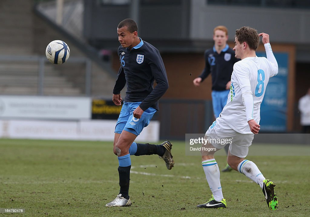 Bamidele Alli of England controls the ball during the UEFA European Under 17 Championship match between England and Slovenia at Pirelli Stadium on March 28, 2013 in Burton-upon-Trent, England.