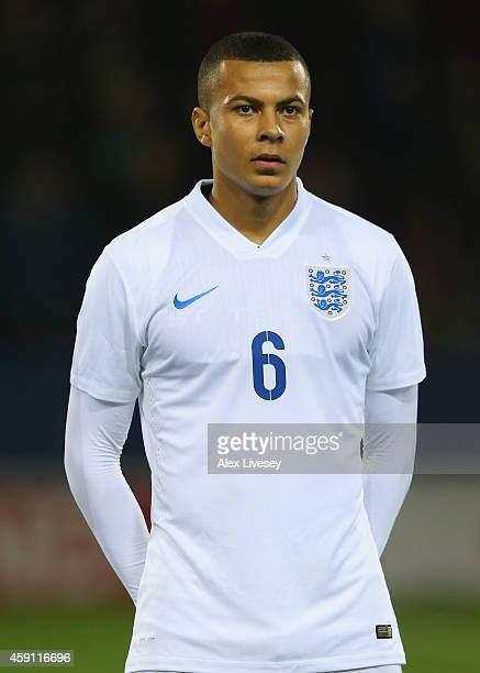 Bamidele Alli of England U19 lines up prior to the International friendly match between England U19 and Italy U19 at The New York Stadium on November...