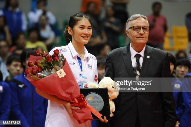 Bamrungsuk Hattaya of Thailand takes the Best Middle Blocker during the 19th Asian Senior Women's Volleyball Championship 2017 at Alonte Sports Arena...