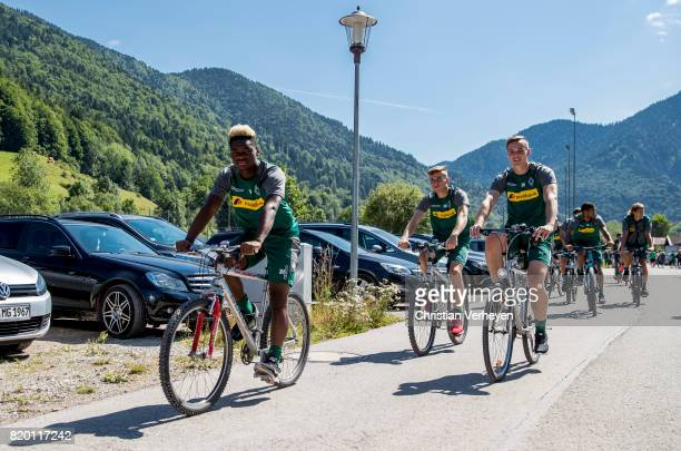 BaMuaka Simakala Louis Beyer and Florian Mayer of Borussia Moenchengladbach during a training session at the Training Camp of Borussia...