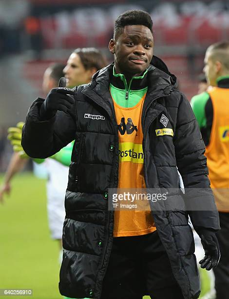 BaMuaka Simakala of Moenchengladbach looks on during the Bundesliga match between Bayer 04 Leverkusen and Borussia Moenchengladbach at BayArena on...