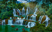 Ban Gioc Waterfall is one of Vietnam's most impressive natural sights. Located in the northeastern province of Cao Bang, the falls are 30 metres high and 300 metres across, making Ban Gioc the widest