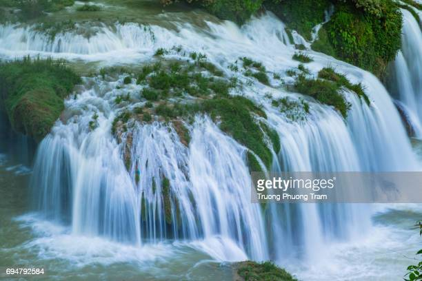 Ban Gioc Waterfall in green valley with rice fields,Cao Bang, Viet Nam.