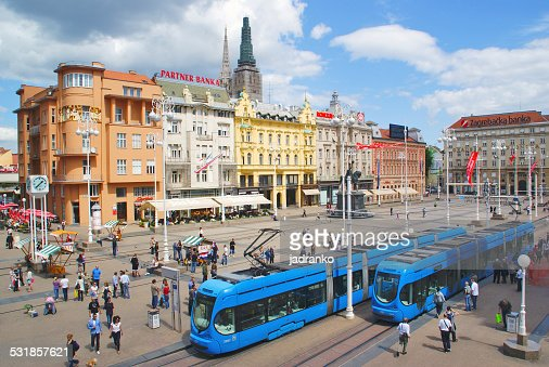 Ban Jelacic Square, the main square with blue tram