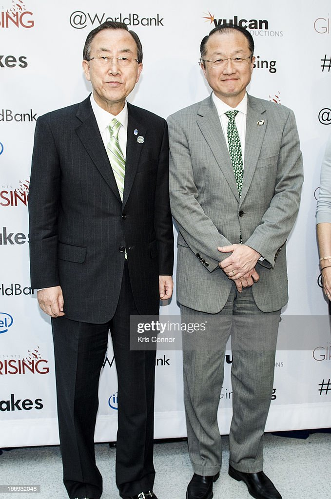 Ban Ki-moon and Jim Young Kim pose for a photo during the Girl Rising: A Rally for Girls and Women screening at The World Bank on April 18, 2013 in Washington, DC.