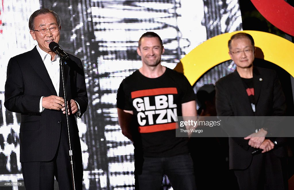 Ban Ki-Moon, Hugh Jackman and Jim Yong Kim speak onstage at the 2014 Global Citizen Festival to end extreme poverty by 2030 in Central Park on September 27, 2014 in New York City.