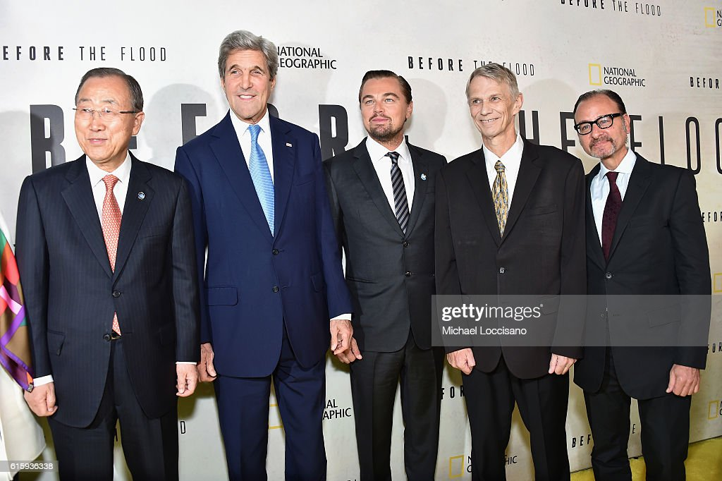 Ban Ki-Moon, John Kerry, Leonardo DiCaprio, Piers Sellers and Fisher Stevens attend the National Geographic Channel 'Before the Flood' screening at United Nations Headquarters on October 20, 2016 in New York City.