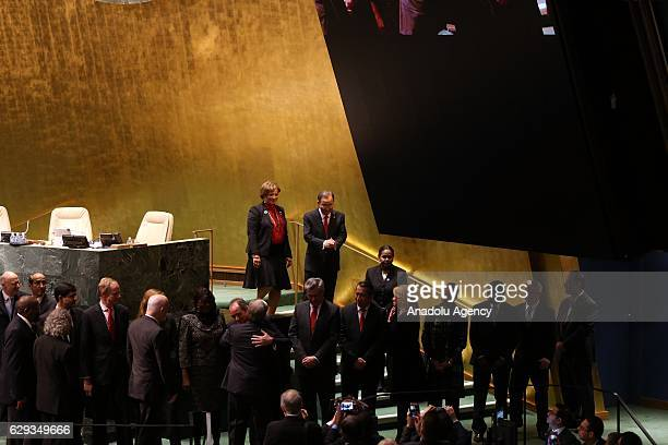 Ban KiMoon looks as diplomats wait for António Manuel de Oliveira Guterres to take his oath swearing as 9th Secretary General of the United Nations...