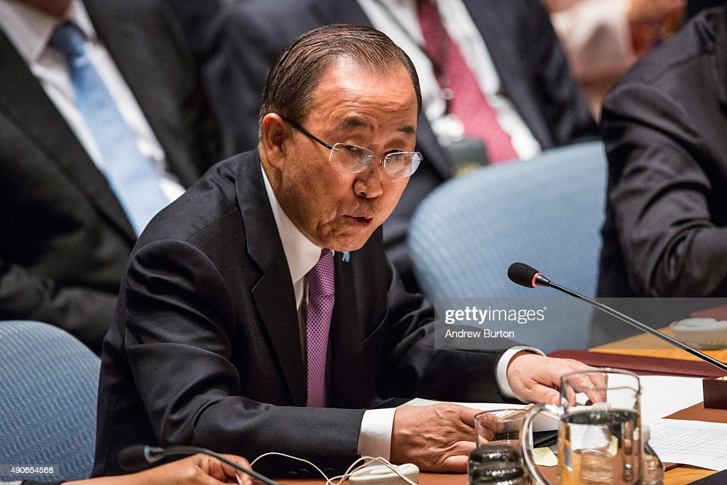 Ban Ki-moon, Secretary General of the United Nations (U.N.), attends a U.N. Security Council meeting on September 30, 2015 in New York City. The Security Council is meeting about countering terrorism.