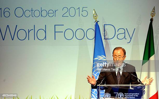 Ban Kimoon Secretary General of the United Nations makes a speech during the World Food Day Expo 2015 on October 16 2015 in Milan Italy The focus of...