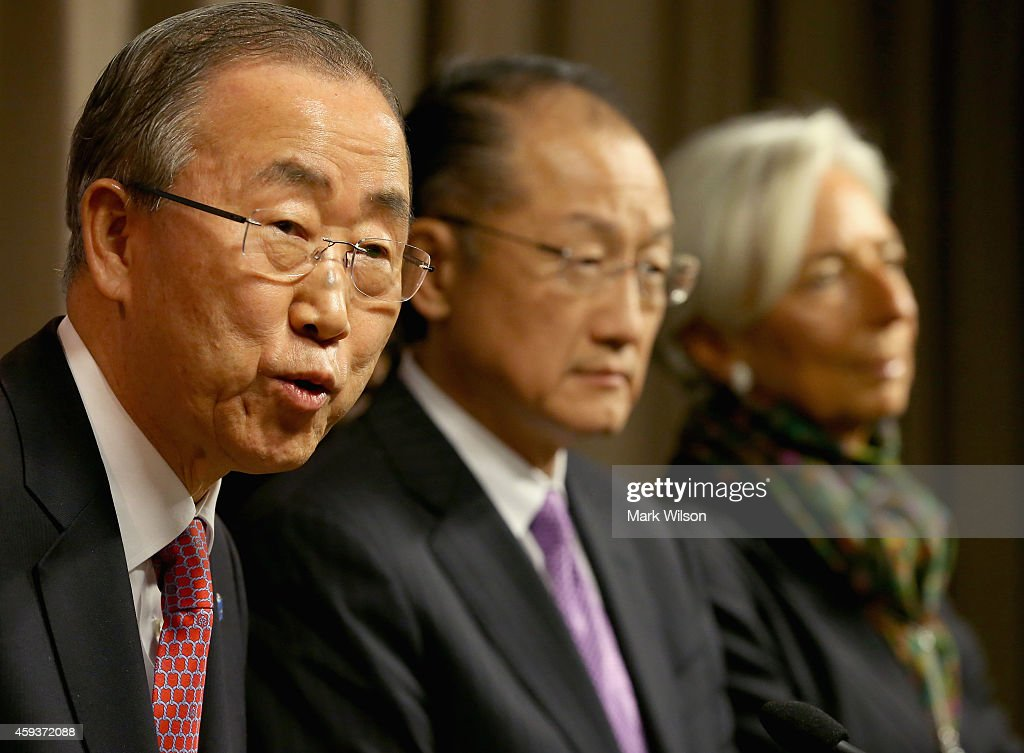 Ban Kimoon Secretary General United Nations speaks while flanked by Jim Yong Kim World Bank President and Christine Lagarde IMF Managing Director...