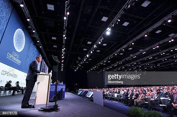 Ban KiMoon secretarygeneral of the United Nations speaks during the opening ceremony of the high level segment of the COP15 United Nations Climate...