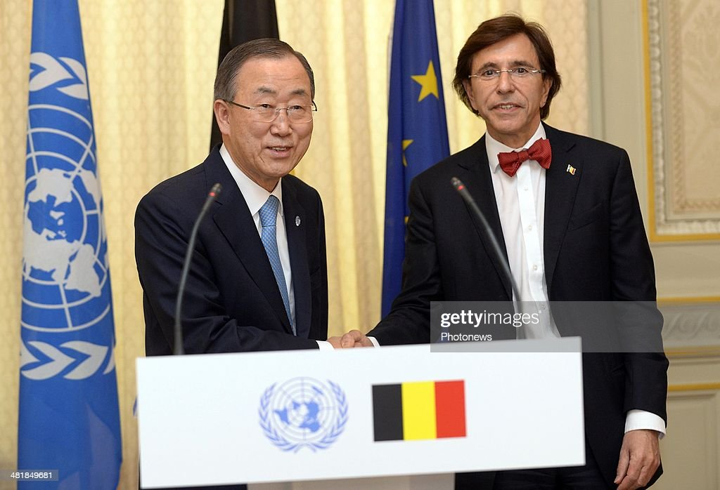 Ban Ki-Moon, Secretary-General of United Nations (L) meets with Belgian Prime Minister <a gi-track='captionPersonalityLinkClicked' href=/galleries/search?phrase=Elio+Di+Rupo&family=editorial&specificpeople=743705 ng-click='$event.stopPropagation()'>Elio Di Rupo</a> on April 1, 2014 in Brussels, Belgium. The Secretary-General of United Nations met with Belgian Prime Minister <a gi-track='captionPersonalityLinkClicked' href=/galleries/search?phrase=Elio+Di+Rupo&family=editorial&specificpeople=743705 ng-click='$event.stopPropagation()'>Elio Di Rupo</a> to discuss the prevention of violence in areas of tension, including Ukraine and Syria, as well as speaking about the EU-Africa summit which will begin in Brussels tomorrow.
