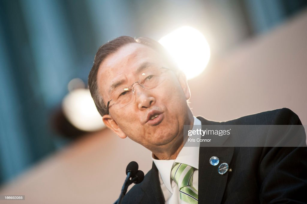 Ban Ki-moon speaks during the Girl Rising: A Rally for Girls and Women screening at The World Bank on April 18, 2013 in Washington, DC.