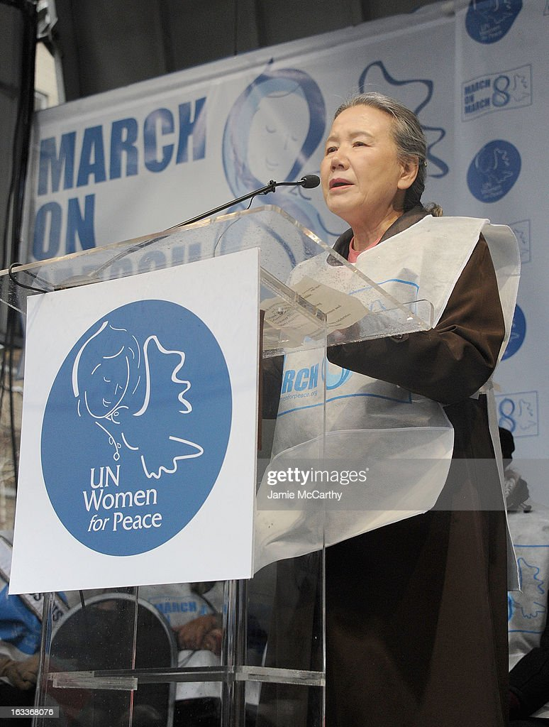 Ban Soon-Taek attends the March On March 8 at United Nations on March 8, 2013 in New York City.