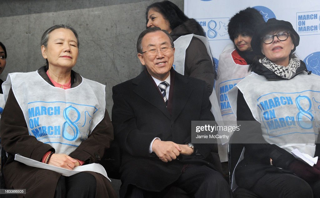 Ban Soon-Taek, U.N. Secretary-General Ban Ki-moon and <a gi-track='captionPersonalityLinkClicked' href=/galleries/search?phrase=Susan+Sarandon&family=editorial&specificpeople=202474 ng-click='$event.stopPropagation()'>Susan Sarandon</a> attend the March On March 8 at United Nations on March 8, 2013 in New York City.