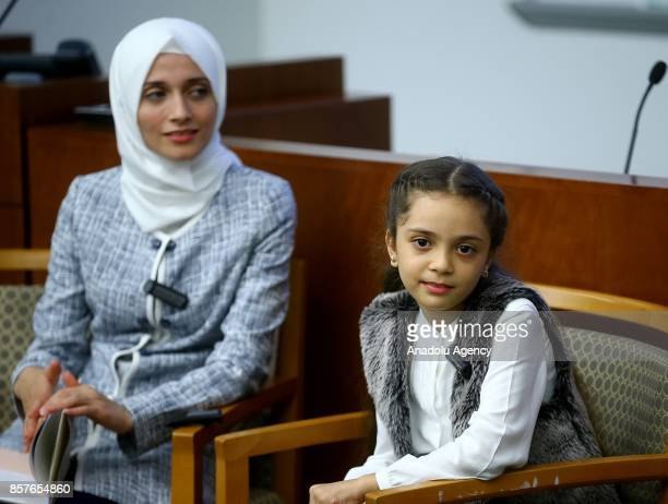 Bana Alabed the 8yearold Syrian girl who fled to Turkey from the wartorn Syrian city of Aleppo attends the introduction and autograph session of her...